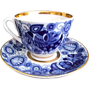 Lomonosov Russia Vintage Cobalt Lace Cup Saucer Flowers Leaves Birds