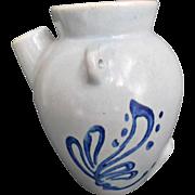 Vintage Pottery Batter Jug Pale Blue with Cobalt Decoration