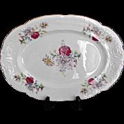 Vintage China Platter Rosecrest Walbrzych Poland Florals Gold Trim Embossing