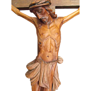 Large Wooden Crucifix with Carved Corpus Early to Mid 1900's