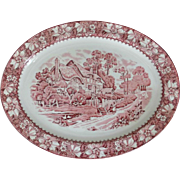 Wood and Sons England Vintage Pink Transferware Platter in Colonial Pattern