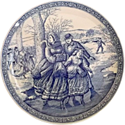 Spode Blue Room Collection Christmas Plate Vintage Victorian Skaters