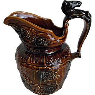 Arthur Wood Majolica Jug Horse Head Handle Treacle Glaze Circa 1920's Vintage