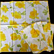 Vintage Vera Yellow Floral Napkins Set of Seven
