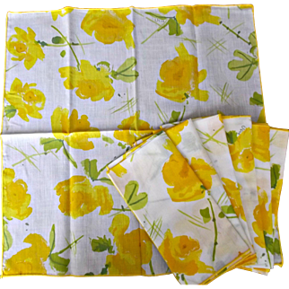 Vintage Vera Yellow Floral Napkins Set of Seven