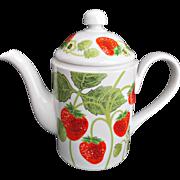 Fitz and Floyd Vintage Sweet Strawberry Tea Coffee Pot