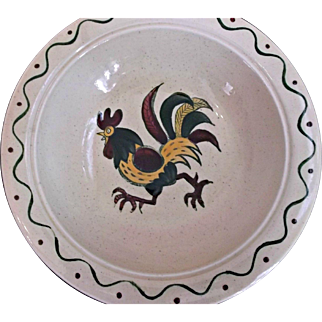 Metlox Pottery Poppytrail California Provincial Hand Painted Red Rooster Bowl 1930's