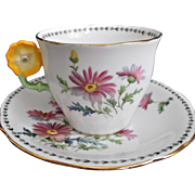 Aynsley England Vintage Pink Floral Cup Saucer with Yellow Flower Handle