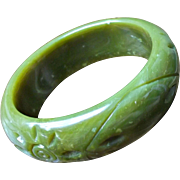 Vintage Spinach Carved Plastic Bangle Sun