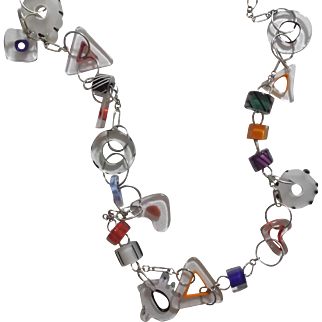 Vintage Silver Tone Circle Link Necklace with Glass Charms