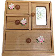 Doll House Pine Dresser Armoire Mirror Hand Painted Roses Dolls Diorama
