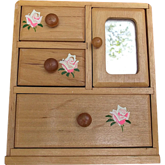 Sweet Vintage Pine Dresser Armoire with Mirror Hand Painted Roses For Dolls