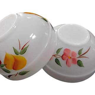 Fire King Gay Fad Studios Two Small Glass Mixing Bowls Peach Blossom Fruits 1950's