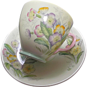Old Royal Bone China Vintage Cup Saucer Set Pale Yellow Green Pink Violet Flowers