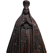 Virgin Mary Our Lady of Fatima Plaster Wall Hanging Early to Mid 1900's