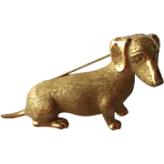 Crown Trifari Vintage Satin Gold Tone Dachshund Pin Brooch