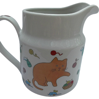 Whimsical Vintage Takahashi Ceramic Milk Pitcher Cats Mice Yarn