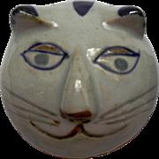 Vintage MCM Takahashi Stoneware Pottery Cat Cache Pot Jar Blue Gray Brown