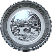 Royal China Jeannette Black Transfer Pie Plate Winter Country Sleigh Ride