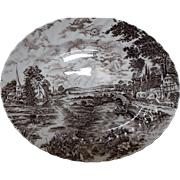 Ridgway Staffordshire England Vintage Brown Transfer Platter Country Days