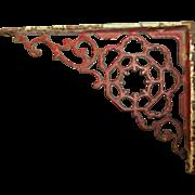 Vintage Decoractive Cast Iron Bracket Red Paint Shabby Chic Home Decor