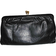 Vintage Black Leather Clutch Made In England for Gimbels Department Store