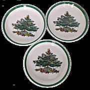 Set of Three Vintage Spode Christmas Tree Coasters Presents Ornaments