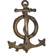 Nautical Brass Anchor Door Knocker with Life Preserver Vintage