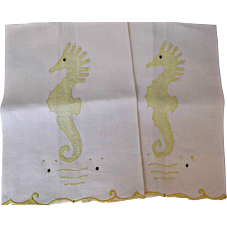 Madeira Hand Embroidered Linen Vintage Seahorse Hand Towels 2