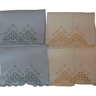 Madeira Vintage Embroidered Linen Hand Towels Tea Towels 4 Yellow Green