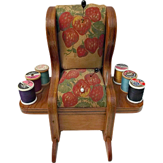 Primitive Folk Art Pin Cushion Rocking Chair Barkcloth Sawdust Stuffing