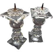 Vintage Swarovski Crystal Pair of Small Candlesticks Pin Style
