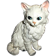 Vintage Lefton Cat Kitten Figurine White with Gray Streaks