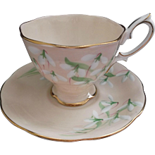 Royal Albert Laurentian Snowdrop Cup Saucer Vintage Fine Bone China
