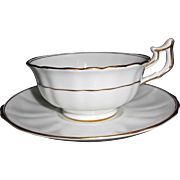 Seven Antique Cauldon Cup Saucer Sets White Fluted with Gold Gilt