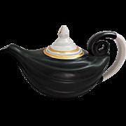 Vintage Hall's Superior Kitchenware Aladdin Tea Pot Matte Black White Gold Gilt