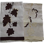 Vintage Appliqued Hand Tea Finger Towels Yellow Brown Fall Leaves Linen - Red Tag Sale Item