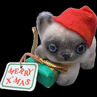 Joseph Originals Vintage Flocked Christmas Puppy Figure Ornament