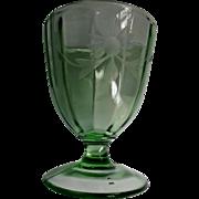 Large Green Paneled Glass Goblet Vase Compote Vintage Wheel Cut Flowers