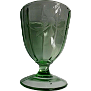 Large Green Paneled Glass Goblet Vase Compote Vintage Wheel Cut Flower Lines