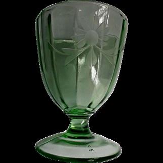 Large Green Paneled Glass Goblet Vase Compote Vintage Wheel Cut Flower Lines