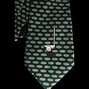 Nicole Miller 1995 Mens Silk Tie Golf Club Ball Green Black
