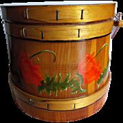 Folk Art Wood Firkin Bucket Hand Painted Red Poppies Green Flora Vintage