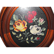 Old Mahogany Frame with Needlepoint Roses