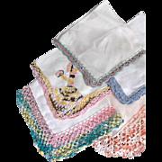 Five Vintage Linen Hankies Tatting Crochet Embroidery Unused
