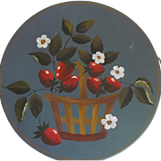 Vintage Folk Art Tole Painted Blue Kreamer Tin with Basket of Strawberries Signed