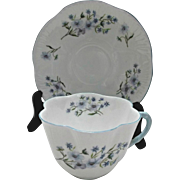 Shelley Cup and Saucer Blue Rock Dainty Shape Blue flowers Vintage China