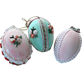 Three Vintage Decorated Easter Eggs Flower Appliques Rick Rack Lace