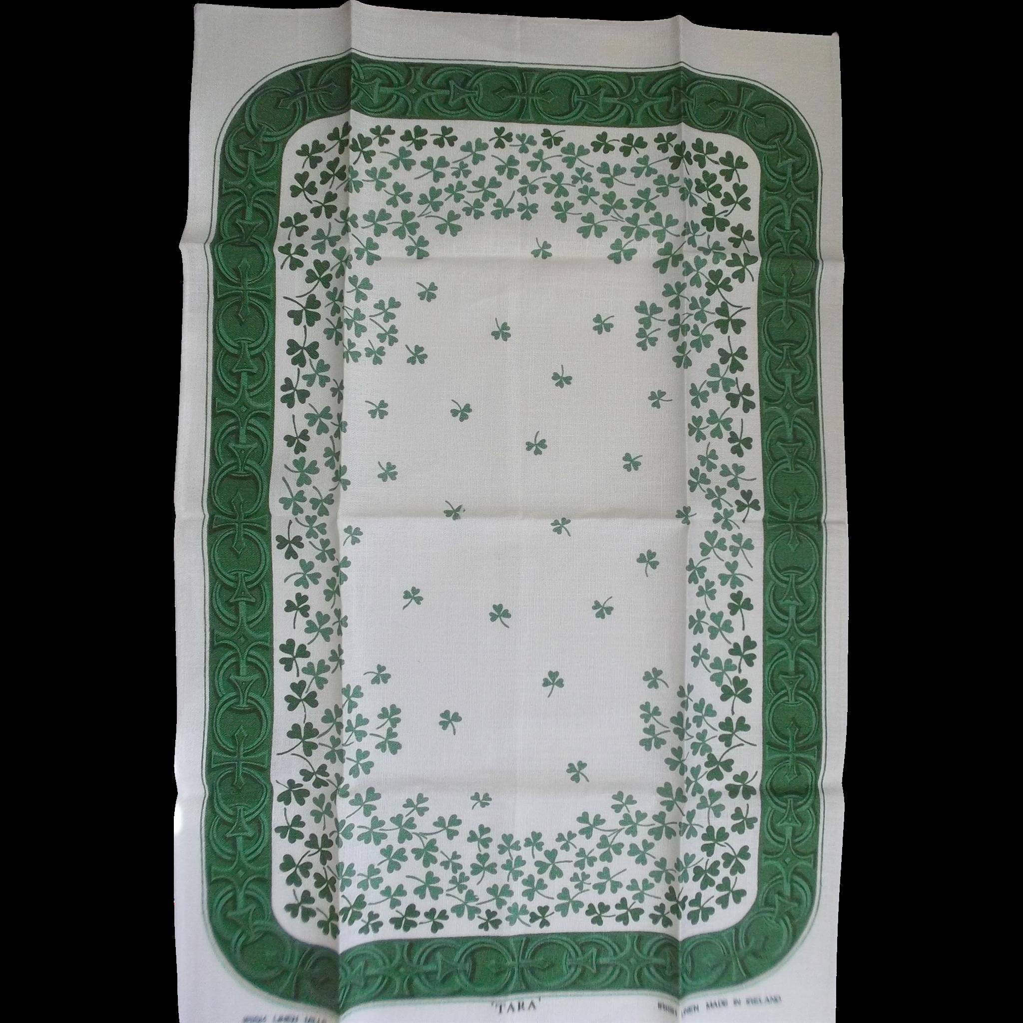 Irish Linen Tara Towel Green Clovers on Ecru Linen