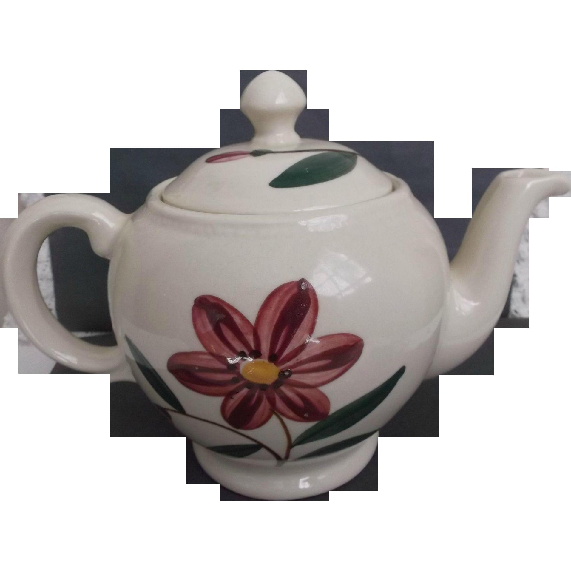 Vintage Shawnee U.S.A. Tea Pot with Pink Flower Green Leaves